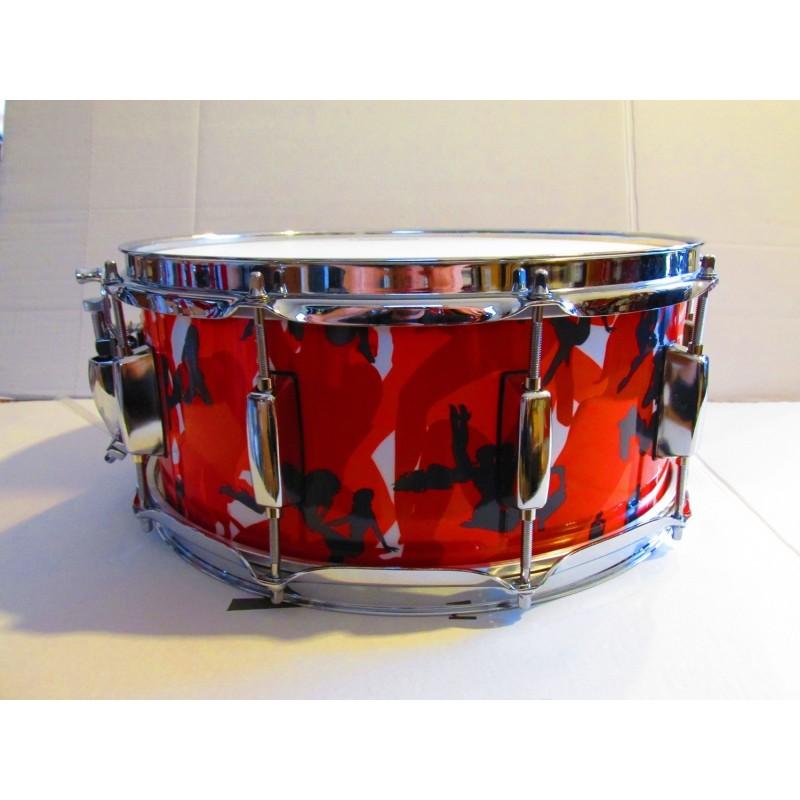 """Rullante Drum Stroke 14""""x6"""" Pioppo/Faggio Wrap """"SexyCamo Rosso"""""""